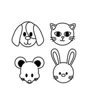 set of pet icon(cat,dog,mouse,rabbit ) vector