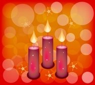 Three Candles on A Red Abstract Background