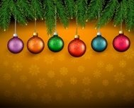 Christmas background with color balls and fir branches