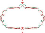 Christmas frame with hearts and texture