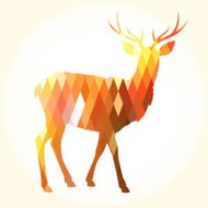Trendy Abstract Geometric Hipster Elk Silhouette