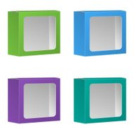 Blank Product Package Box With Window. Set. Vector, Isolated On