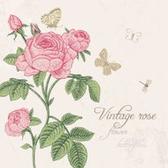 Vintage vector card with blossoming pink rose