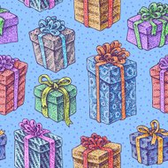 Seamless hand drawn texture of  presents with bows and ribbons.