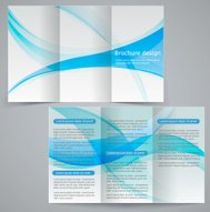 Tri-fold business brochure template, vector blue design flyer