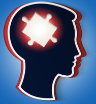 Human head. concept a new idea, piece of the puzzle