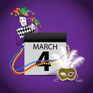 Mardi Gras Jester Calendar design element.