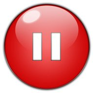 Pause icon on red glossy button.