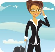 Cartoon woman on phone in airport