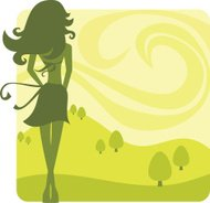 Vector woman spring silhouette