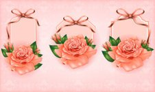 Set of beautiful gift cards with pastel roses