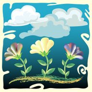 flowers on cloudy sky background