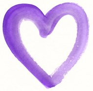 Purple painted heart