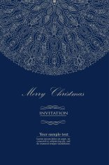 Design blue invitation for merry Christmas vector