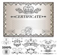 Gift certificate set  with decorative calligraphic elements for