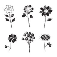 Hand Drawn Flowers. Doodles. Isolated. Vector