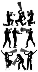 Business people with megaphone