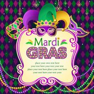 Vector illustration of Mardi Gras masks frame