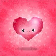 Happy Valentines day card with cute heart