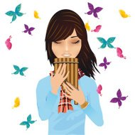 Girl with a pan's flute surrounded by butterflies vector