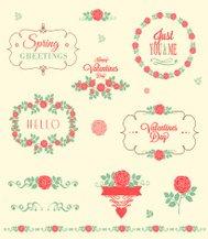 Valentines day florals vector elements