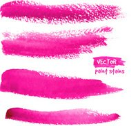 Bright pink vector brush strokes set