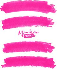 Bright pink vector marker stains set