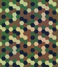 Abstract Seamless Hexagon Camouflage. Vector