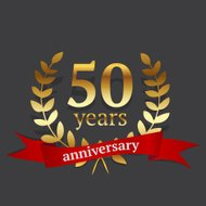 Fifty years anniversary golden sign