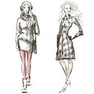Fashion illustration winter style sketch
