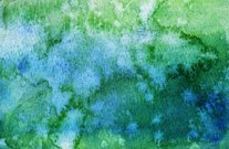 Watercolor background hand painted with blue and green