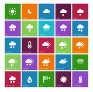 Weather icons on color background.