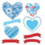 Wedding romantic collection ribbons, hearts, flowers set