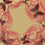 Flower background with lace, roses and butterflies. Vector illus