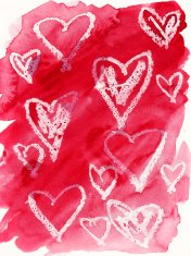 White hand drawn hearts on a bright red watercolor background