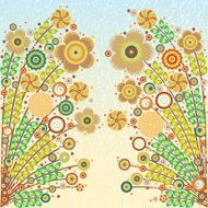 Vector floral composition card with grunge color background.