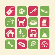 Dog life Icons set Red Green