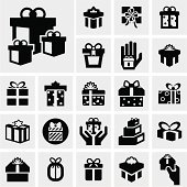 Gift box vector icons set on gray