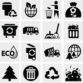 Garbage vector icons set on gray