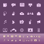 Media color icons on purple background
