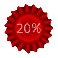 Red Vector Label-20%