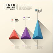 Abstract 3D pyramid chart info-graphics