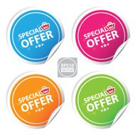 special offer colorful stickers set.