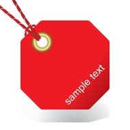 vector tied red tag or sticker