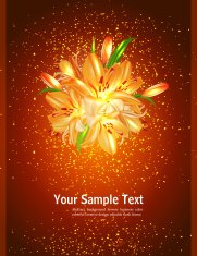 holiday card with orange lilies on a brown background