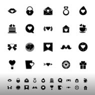 Heart element icons on white background