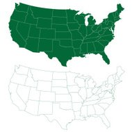 USA map in green and white