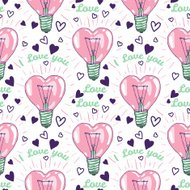Heart shape bulbs - vector seamless pattern
