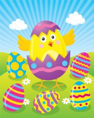 Easter Chick Hatching from Colored Easter Egg