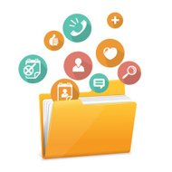 Yellow file folder icon and flat icons